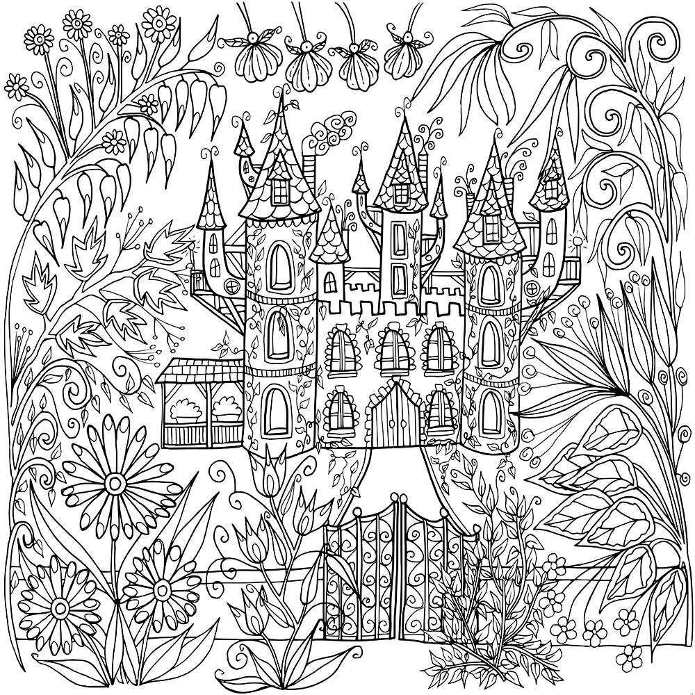 Coloring Pages For Adults Castle : Castle in flowers