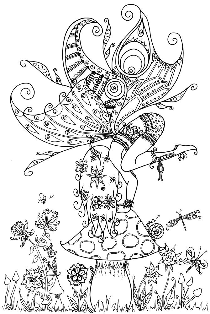 fairy mandala coloring pages - fairy on a mushroom