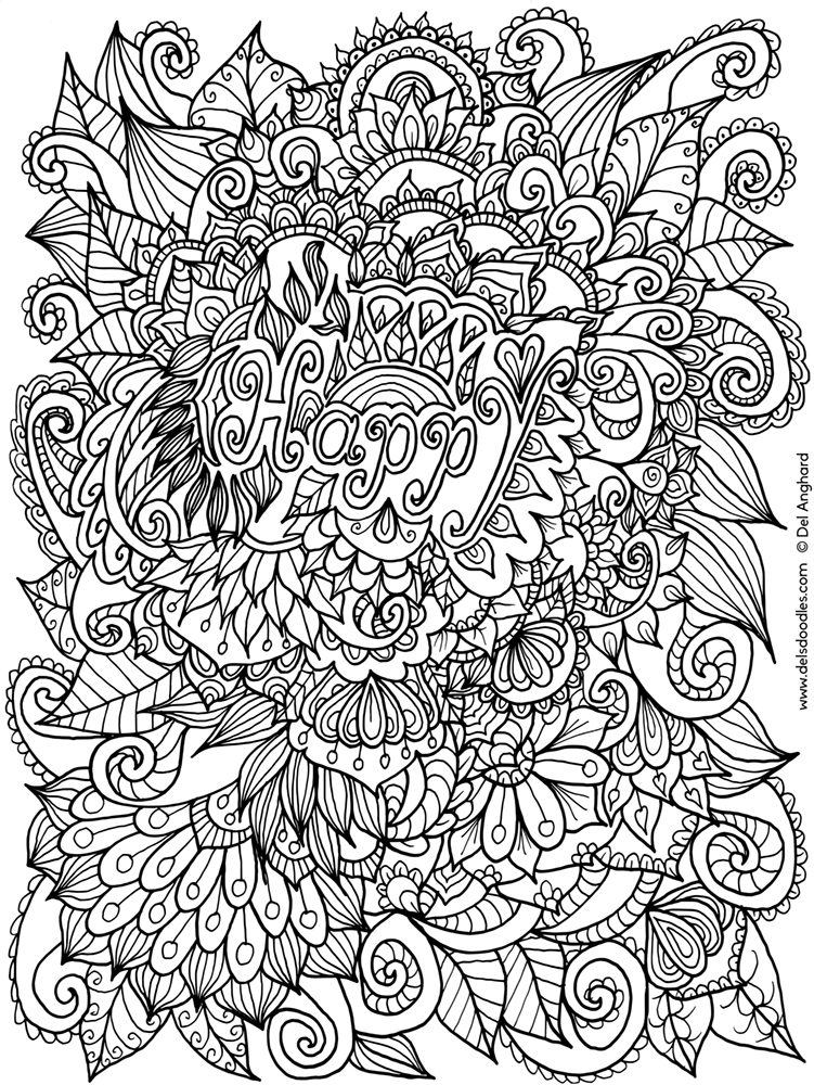 happy colouring page
